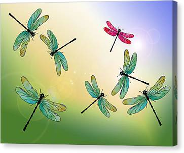 Insect Canvas Print - Flight Of The Scarlet Lady by Jenny Armitage
