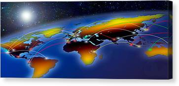 Flight Plan Marked On A Globe Canvas Print by Panoramic Images