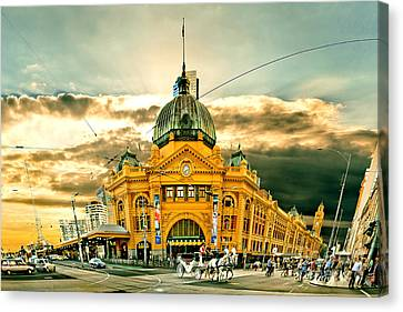 Flinders St Station Canvas Print by Az Jackson