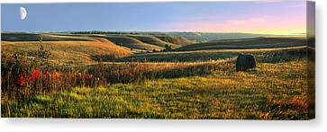 Red Skies Canvas Print - Flint Hills Shadow Dance by Rod Seel