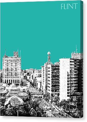 Flint Michigan Skyline - Teal Canvas Print