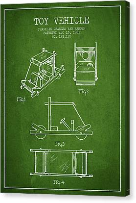 Flintstones Toy Vehicle Patent From 1961 - Green Canvas Print by Aged Pixel