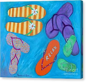 Flip Flops Canvas Print by Marlene Robbins