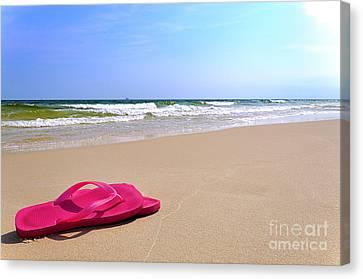 Flip Flops On Beach Canvas Print