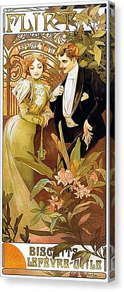 Flirt Canvas Print by Alphonse Mucha