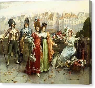 Purse Canvas Print - Flirtation by Henri-Victor Lesur