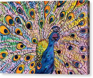 Flirty Peacock Canvas Print by Eloise Schneider