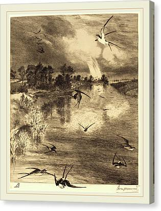 Félix Bracquemond French, 1833-1914, The Swallows Canvas Print by Litz Collection