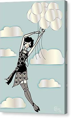 Floating Flapper Blue Canvas Print