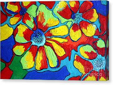 Canvas Print featuring the painting Floating Flowers by Alison Caltrider