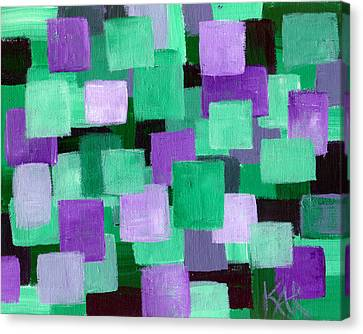 Floating Green And Purple Squares Canvas Print by Art by Kar