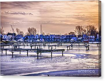 Floating Homes At Bluffers Park Marina Canvas Print by Elena Elisseeva