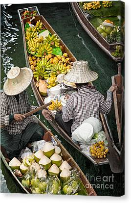 Local Food Canvas Print - Floating Market  by Anek Suwannaphoom