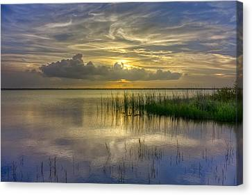 Floating Over The Lake Canvas Print by Debra and Dave Vanderlaan