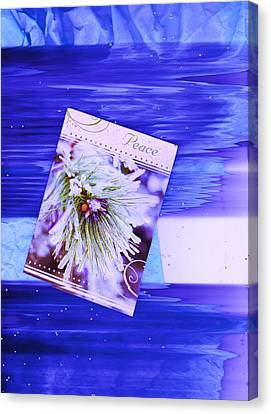Wavy Canvas Print - Floating Peace Card With Waves by Anne-Elizabeth Whiteway