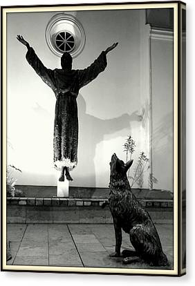 Floating Saint And Wolf Canvas Print by Daniel Gomez