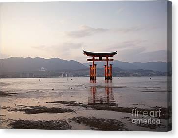 Floating Torii Canvas Print - Floating Torii Gate Of Itsukushima Miyajima by Ei Katsumata