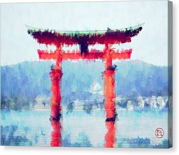 Floating Torii Canvas Print - Floating Torii Gate Of Japan by Daniel Hagerman