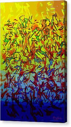 Canvas Print featuring the digital art Flock by Matt Lindley