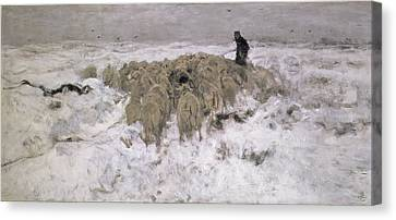 Flock Of Sheep In The Snow Canvas Print by Anton Mauve