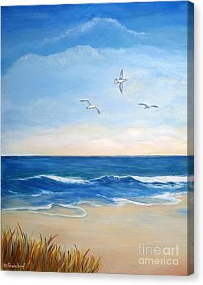 Flock Of Three - Three Birds On The Beach Canvas Print by Shelia Kempf