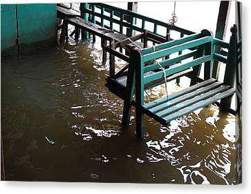 Flooded Docks Of A River Boat Taxi In Bangkok Thailand - 01133 Canvas Print