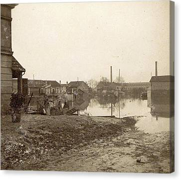 Flooded Premises During The Flooding Of Paris Canvas Print by Artokoloro