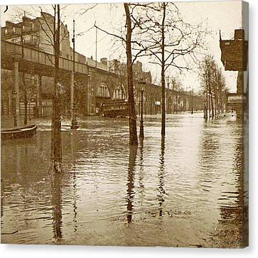 Flooded Street In A Flyover During The Flooding Of Paris Canvas Print by Artokoloro