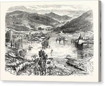 Flooding Of The City Of San Stefano In Tuscany Canvas Print by Litz Collection