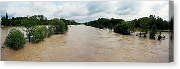 Flooding On The River Thur Canvas Print by Michael Szoenyi