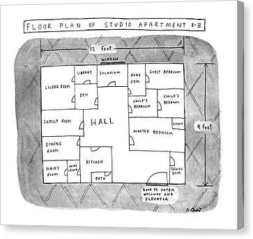 Floor Plan Of Studio Apartment R-b Canvas Print by Roz Chast