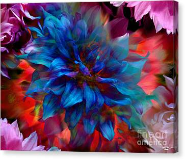 Floral Abstract Color Explosion Canvas Print by Stuart Turnbull