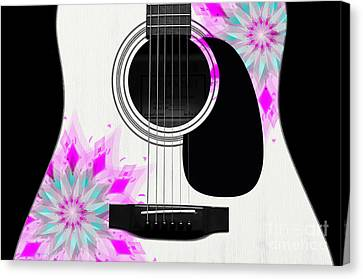 Floral Abstract Guitar 1 Canvas Print