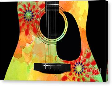 Floral Abstract Guitar 34 Canvas Print