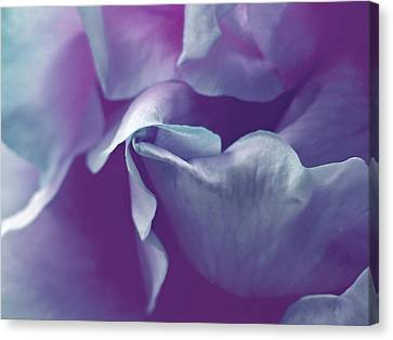 Abstract Blue Purple Green White Flowers Art Work Photography Canvas Print by Artecco Fine Art Photography