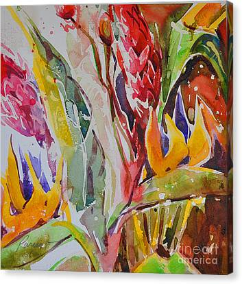 Canvas Print featuring the painting Floral Abstraction by Roger Parent