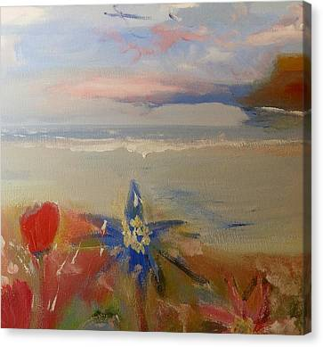 Floral Delight At Blue Bird Bay Canvas Print by Judith Desrosiers