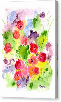 Canvas Print featuring the painting Floral Fantasy by Paula Ayers