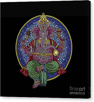 Multicolored Canvas Print - Floral Ganesha by Tim Gainey