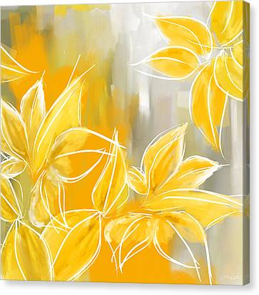 Black And Yellow Canvas Print - Floral Glow by Lourry Legarde