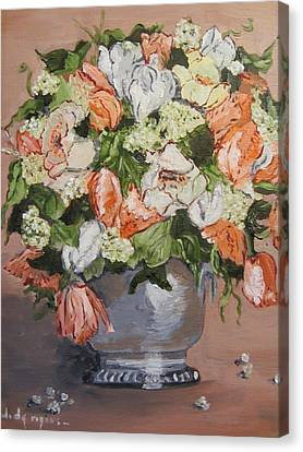 Floral In Silver Canvas Print