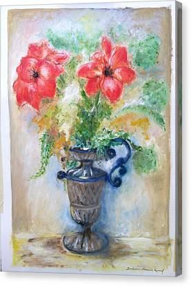 Floral In Urn Canvas Print by Barbara Anna Knauf