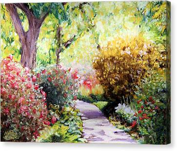 Soft Pastel Canvas Print - Floral Path by Abbie Groves