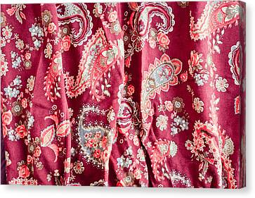 Rose Patterned Curtains Canvas Print - Floral Pattern by Tom Gowanlock