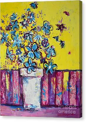Floral Still Life Blue Hues Canvas Print by Patricia Awapara