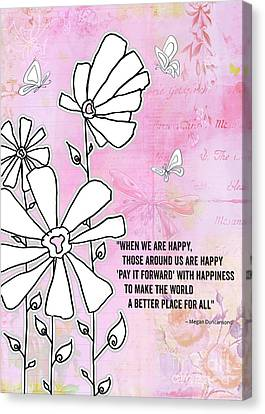 Floral Typography Word Art Quote Flowers And Butterflies By Megan Duncanson Canvas Print by Megan Duncanson