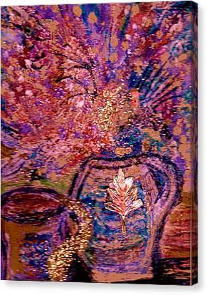 Floral With Gold Leaf On Vase Canvas Print by Anne-Elizabeth Whiteway