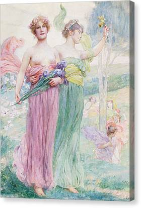 Floreal Canvas Print by Henry Siddons Mowbray