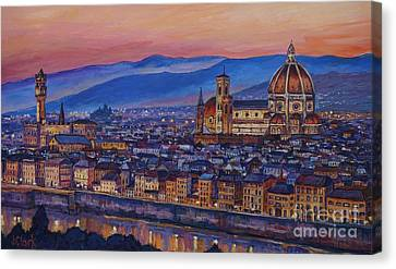 Florence At Night Canvas Print by John Clark