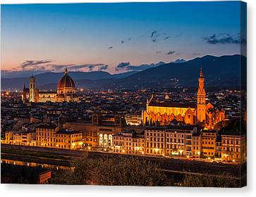 Florence City At Night Canvas Print